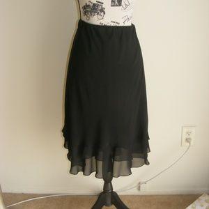 Alex Evenings Tiered Black Chiffon Like Skirt